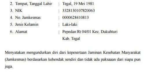 Contoh Surat Pernyataan Pengunduran Diri Dari Bpjs Kesehatan