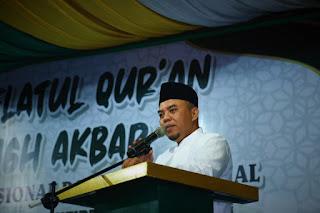 Bupati Labuhanbatu Hadiri Malam Haflatul Qur'an dan Tabligh Akbar Di Mesjid Agung
