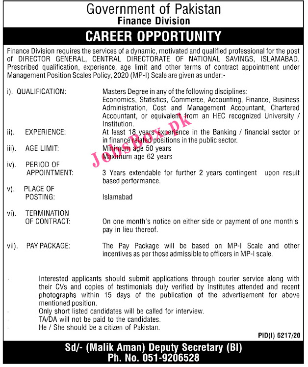 Latest Jobs in Finance Division Government of Pakistan  2021