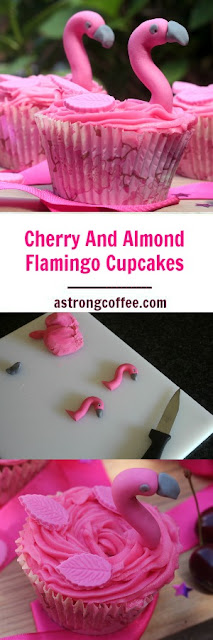 These easy to make cherry and almond cupcakes are topped with pink buttercream and decorated with readyroll icing to make flamingo cupcakes