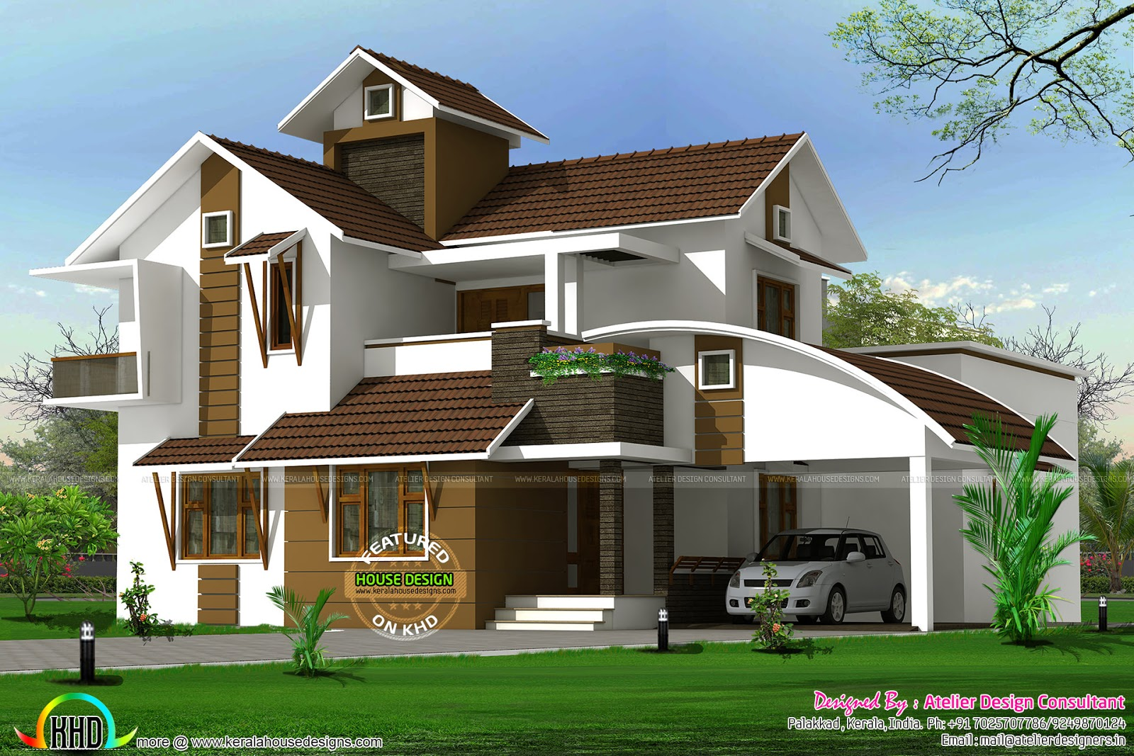 2410 sq ft modern mix sloping roof house kerala home for Modern sloped house design