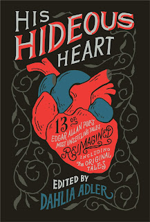 A stylized drawing of a red and blue human heart against a black background with silver vines.