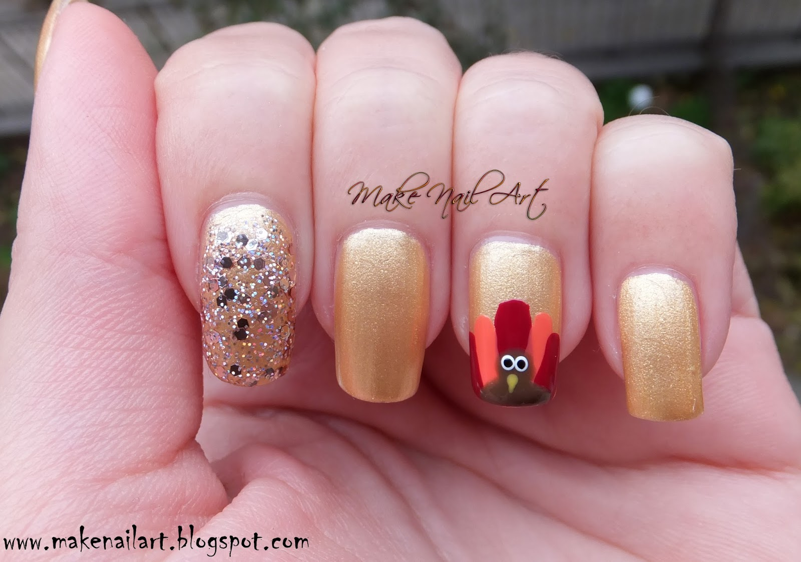 Make Nail Art Easy And Cute Thanksgiving Turkey Nails Nail Art Tutorial