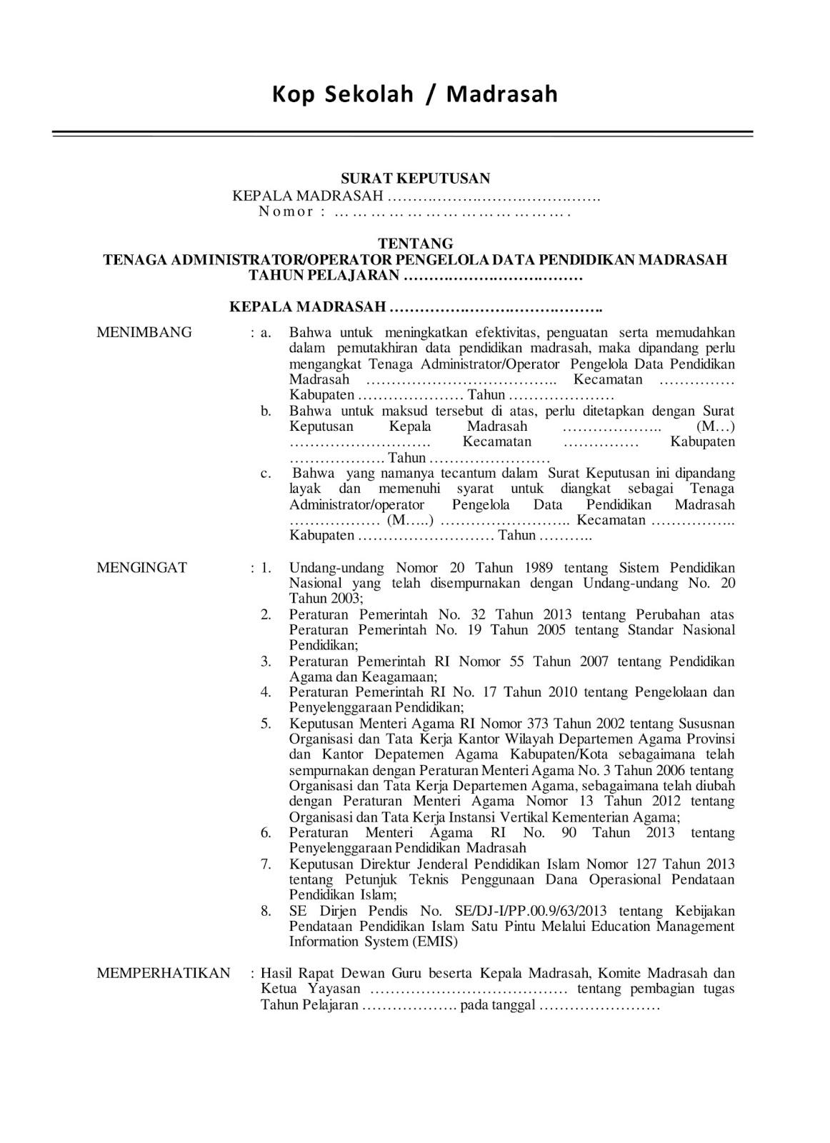Contok Sk Operator Madrasah halaman 1