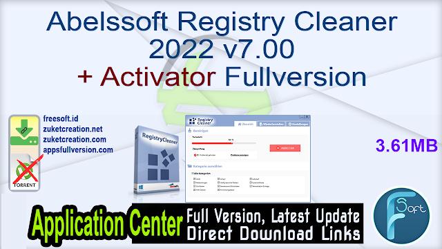 Abelssoft Registry Cleaner 2022 v7.00 + Activator Fullversion