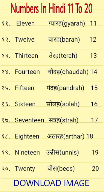 Numbers In Hindi 11 To 20