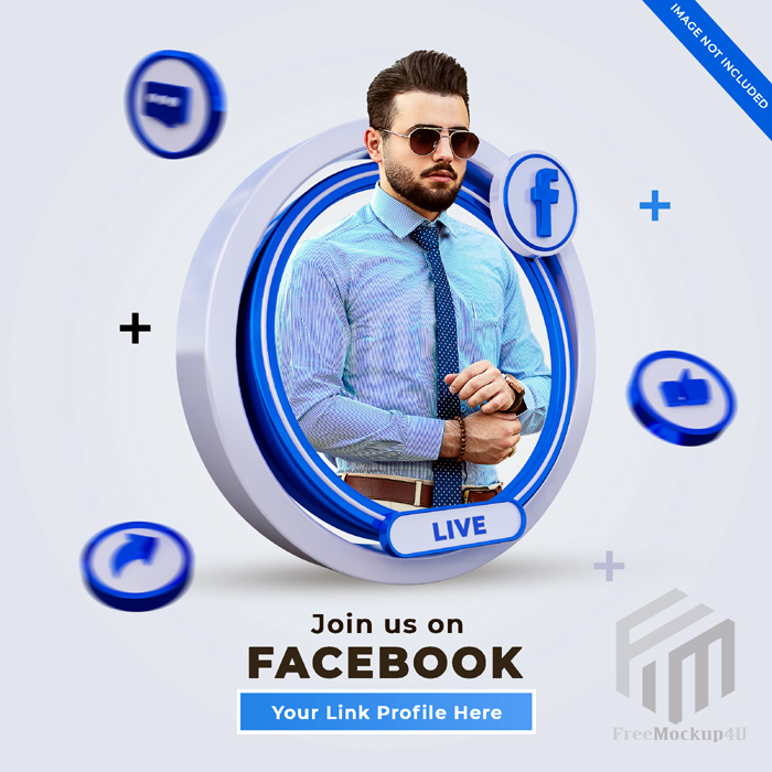 Follow Us Facebook Social Media Square Banner With 3D Logo Link Profile Box 3