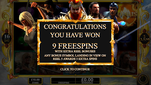 5 clans - congratulations, you have won 9 free spins
