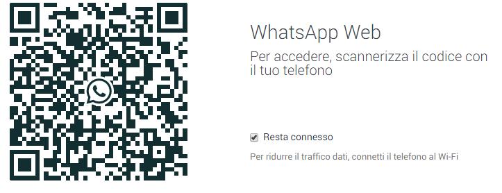 scansione codice qr per usare whatsapp su pc con whatsapp web
