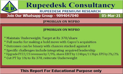 JPMORGAN ON WIPRO - Rupeedesk Reports - 05.03.2021