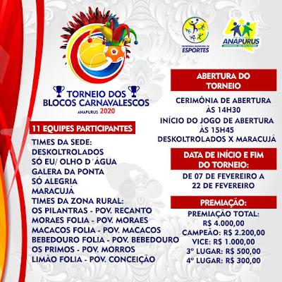 Prefeitura Municipal de Anapurus promoverá o tradicional Torneio de futebol dos Blocos Carnavalescos 2020