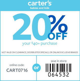 Carters coupon code in store