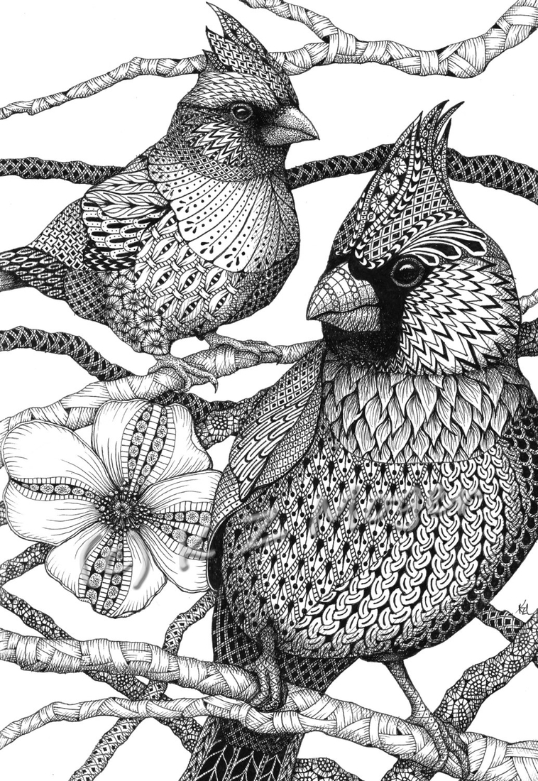 01-Cardinal-Birds-Kristin-Moger-Domestic-and-Wild-Zentangle-Animal-Portraits-www-designstack-co