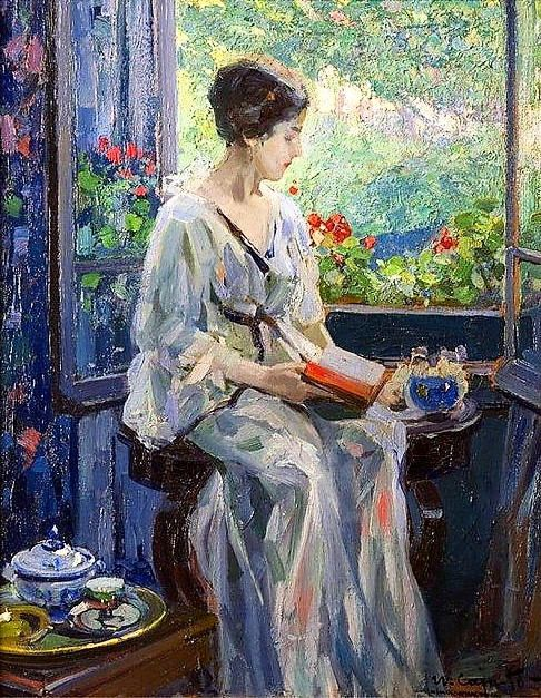 A Woman Reading Seated by an Open Window by Ulisse Caputo