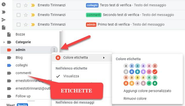 scegliere i colori delle etichette in gmail