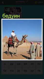 в пустыне стоит верблюд на котором сидит бедуин, другие стоят рядом с ним
