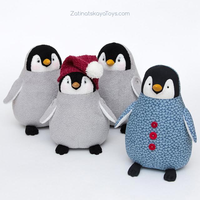 пингвины мягкие игрушки сделаны своими руками по выкройке в натуральную величину Затинацкой Натальи