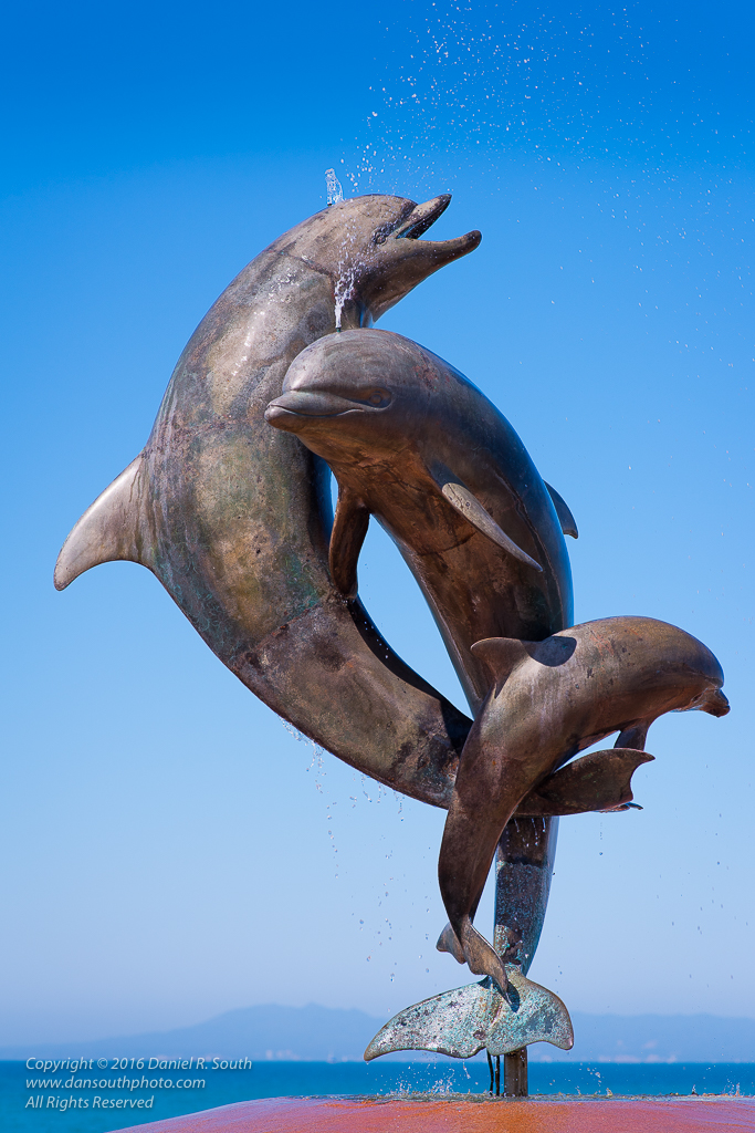 a photo of the dolphin sculpture on the malecon in puerto vallarta