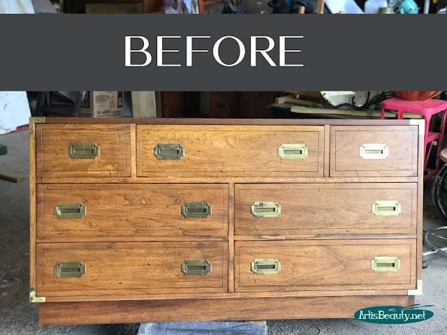Classic Campaign dresser makeover BEFORE using general finishes milk paint in driftwood