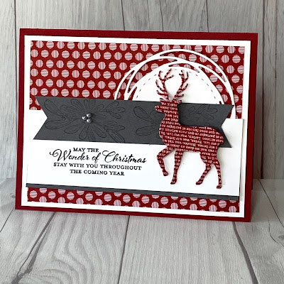 Cherry Cobbler Christmas Card with die cut deer from patterned paper