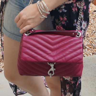 sheer floral kimono with Rebecca Minkoff Edie small crossbody bag in magenta  | awayfromtheblue