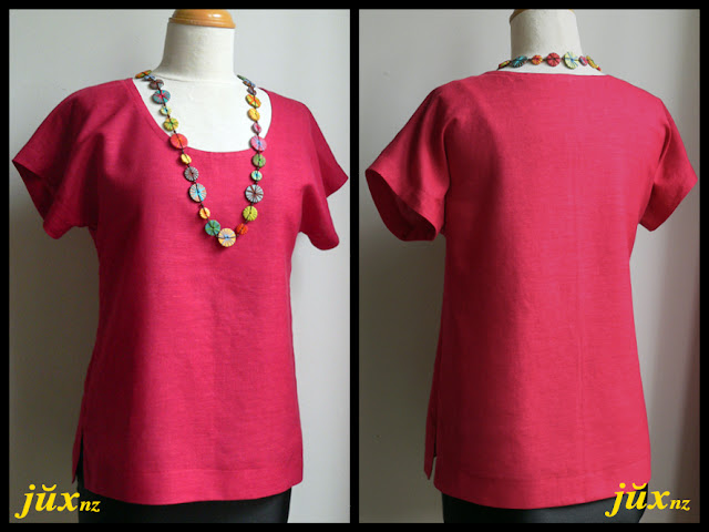 Lemon Squeezy - red linen blouse, self-made pattern