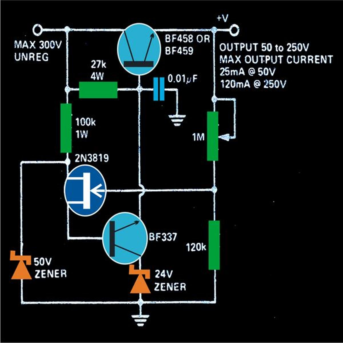 Variable 0 to 300 Volts, Regulated Power Supply Circuit Diagram