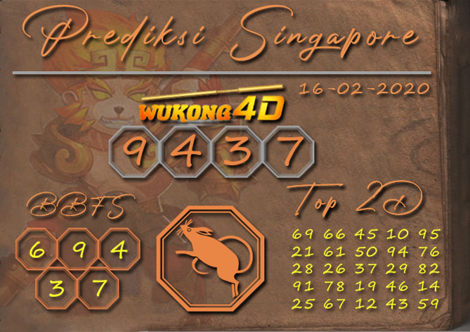 Prediksi Togel SINGAPORE WUKONG4D 16 FEBRUARI 2020