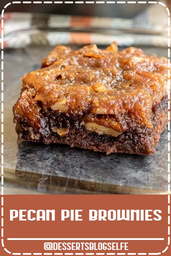 Pecan Pie Brownies are an amazing Thanksgiving dessert recipe that combines two classics, rich, fudgy chocolate brownies, and pecan pie, into one awesome dessert. Pecan pie filling is baked on top of brownies for a sweet, fall dessert that will become your favorite Thanksgiving recipe! #DessertsBlogSelfe #thanksgiving #thanksgivingdessert #pecanpie #brownies #thanksgivingrecipe #homemadeinterest #falldesserts