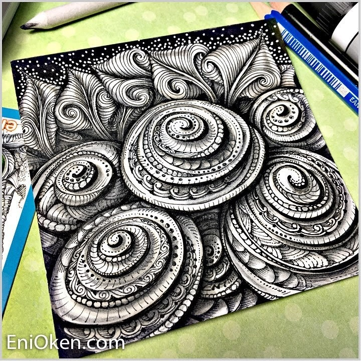 01-Decorated-Printemps-Spirals-and-Toodles-Eni-Oken-Color-and-Black-and-White-Zentangle-Drawings-www-designstack-co