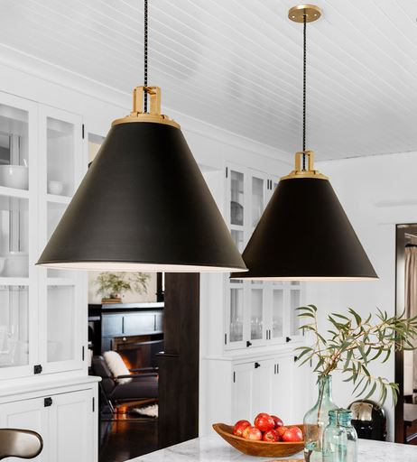 kitchen island lighting modern transitional traditional interior design decorating rejuvenation butte cone pendant