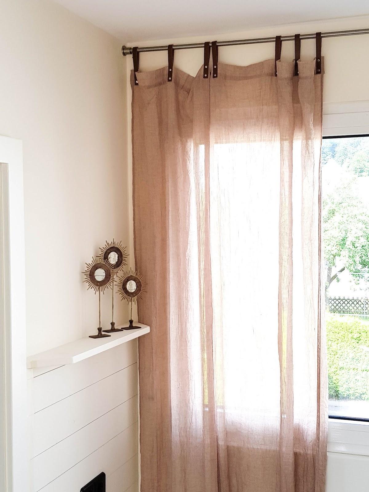 Tipp für schöne Vorhänge und Gardinen für Küche, Esszimmer, Wohnzimmer, Lederschlaufen, Schlaufen