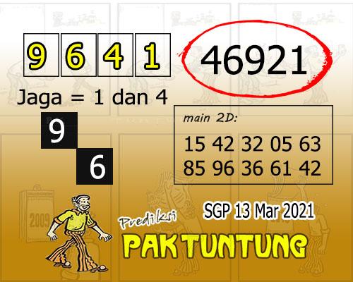 Syair SGP Sabtu 13 Maret 2021 -