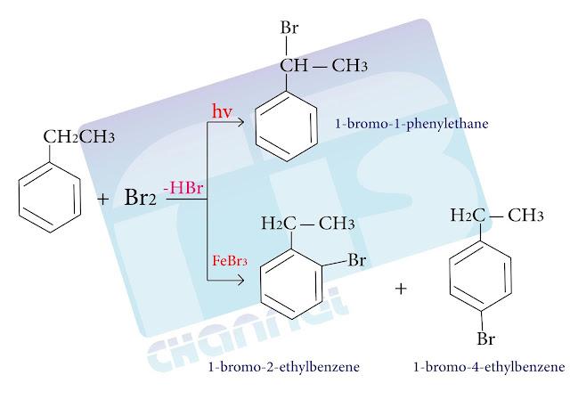 تفاعل البروم مع إيتيل البنزن بوجود الأشعة فوق البنفسجية