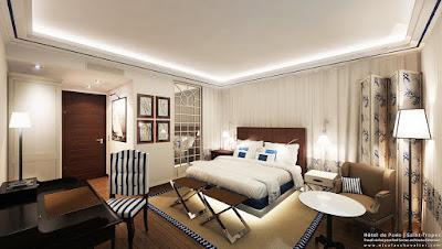 Perspective 3d chambre de luxe hôtel de Paris