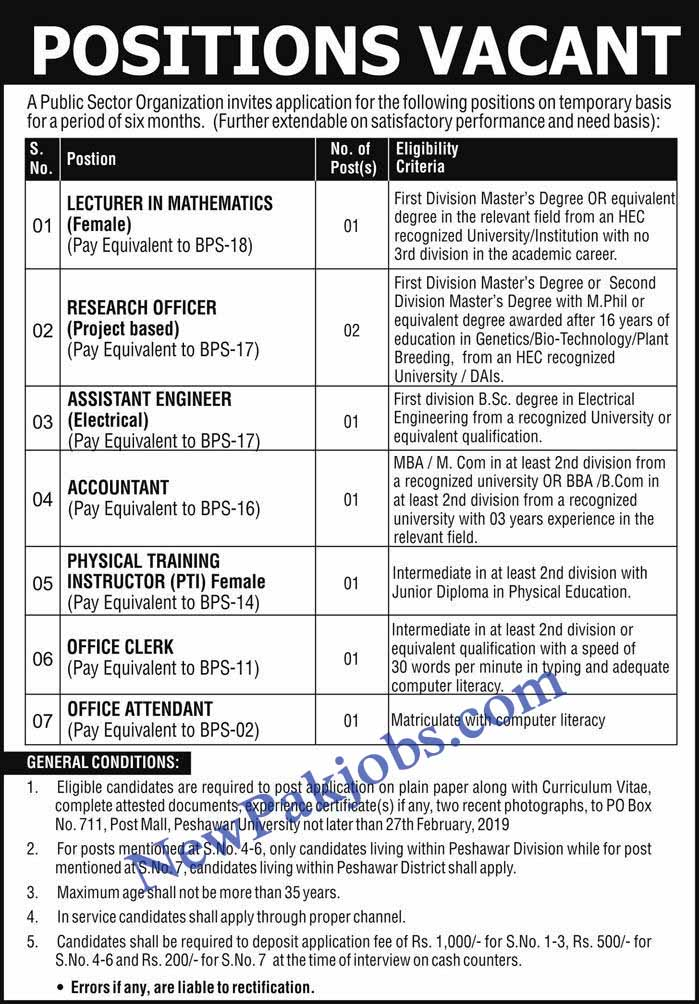 Lecturer, Research Officer, Accountant Clerk Govt Jobs in Peshawar 2019