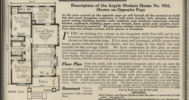black and white image of floor plan and description of Sears Argyle in 1921 Sears Modern Homes catalogue