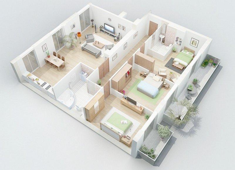 4 Aneka Denah Rumah 7x10 Kamar 3 Lantai 1 Minimalis