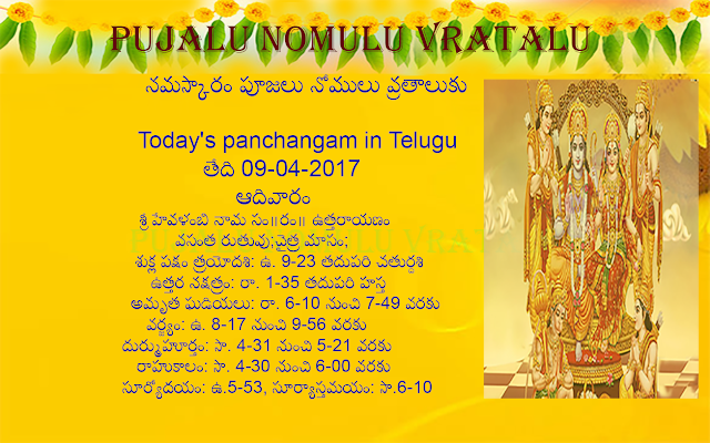 Today' s Panchangam in Telugu, Sri kanakadhara stotram in English, Sri Adityahridayam in english, Sri Shani Sthotram in Telugu,