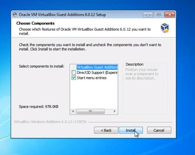 ahora solo daremos clic en install para que VirtualBox quede con todos los complementos necesarios para trabajar sobre la maquina como si fuera nuestro pc real
