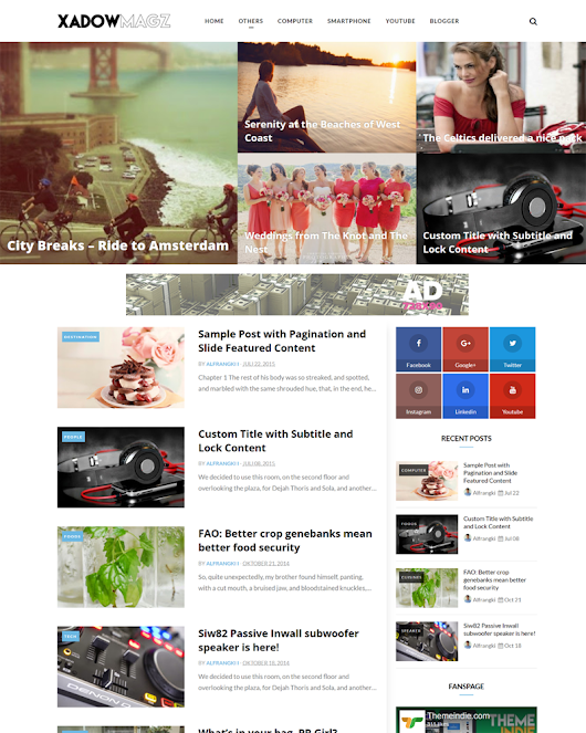 XadowMagz Fully Responsive and Mobile-friendly Blogger Template | Themeindie.com