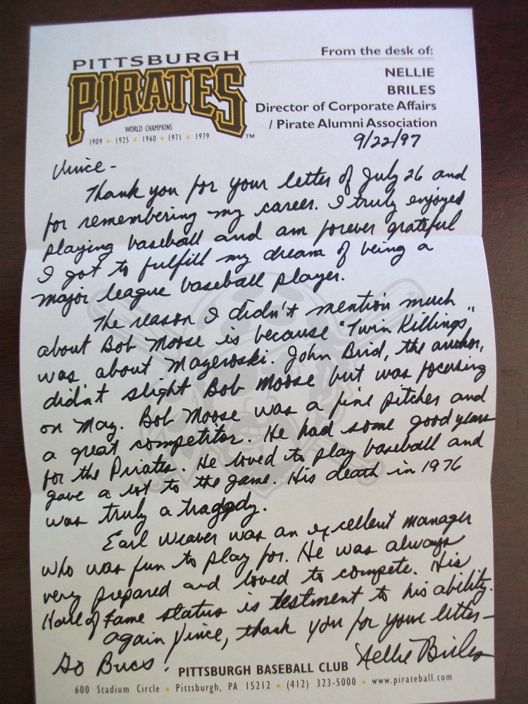 Letter from Nellie Briles re: Bob Moose