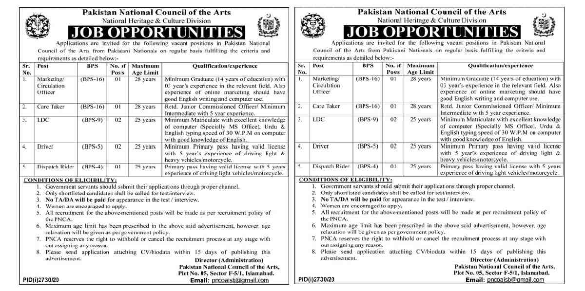 Pakistan National Council of Arts PNCA Jobs 2020 for Marketing Officer, Circulation Officer, Care Taker, LDC, Lower Division Clerk, Clerk, Driver, LTV Driver and Dispatch Rider