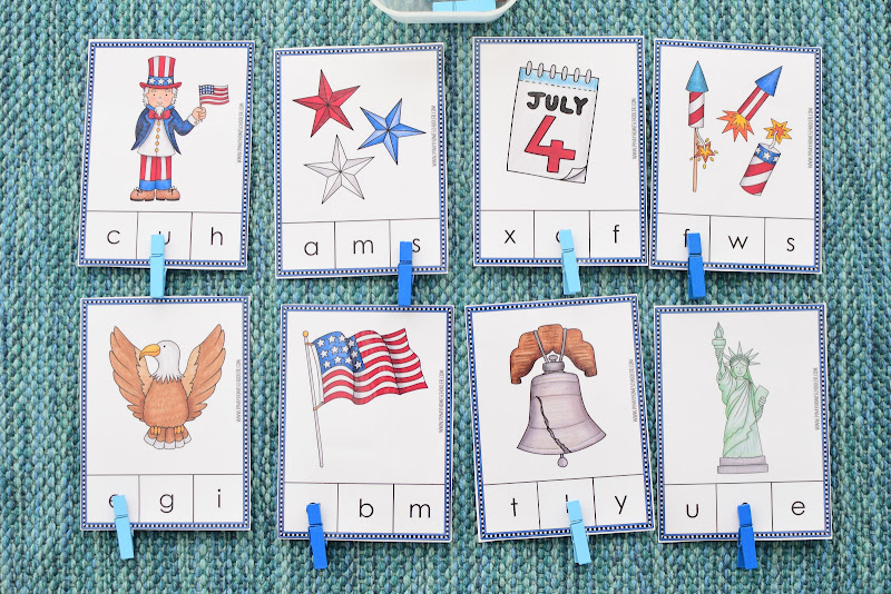 4th of July Beginning Letter Clipcards