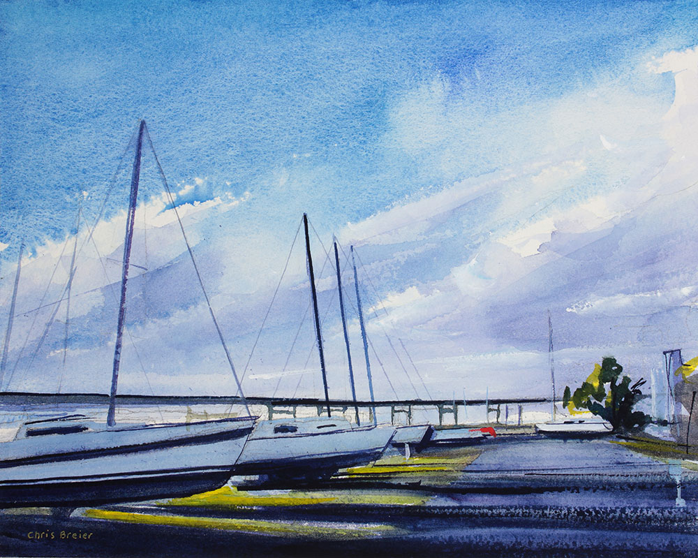 Watercolor painting of yachts in Buffalo, NY