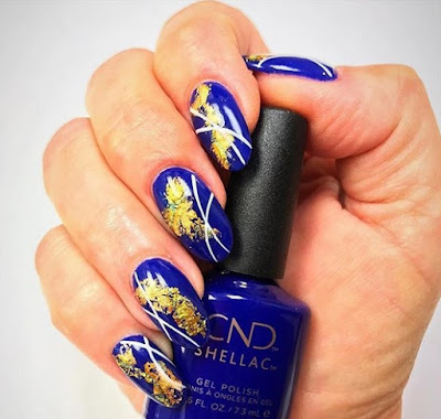CND Wild Earth Nail Art with Blue Moon and gold foil