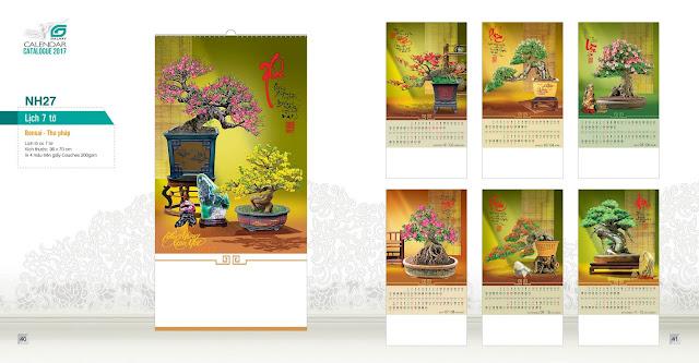 NH27 - Bonsai - thư phap , Lịch treo tường 7 tờ, in lịch, mẫu lịch phong thuỷ