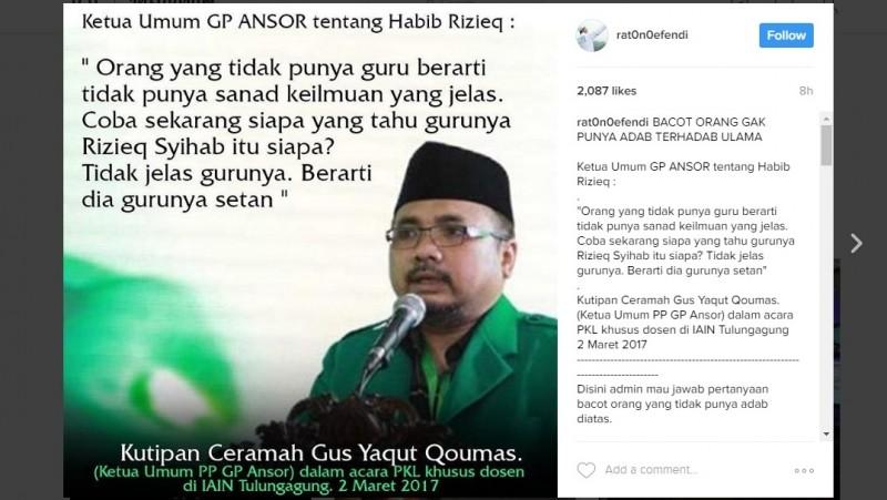 Kata Ketum GP Ansor soal Habib Rizieq