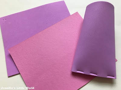 Using cardboard and craft foam to make Valentine's Day gift tubes