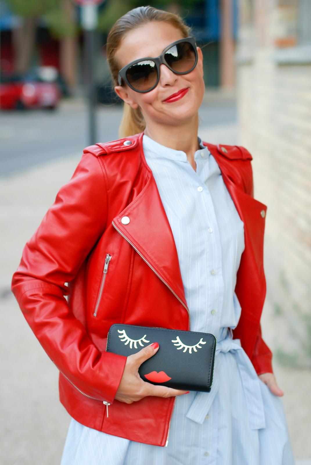1.2.3 Paris red leather biker jacket giacca pelle rossa motociclista on Fashion and Cookies fashion blog, fashion blogger style